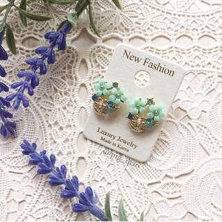 韓國製 法式優雅小花耳環