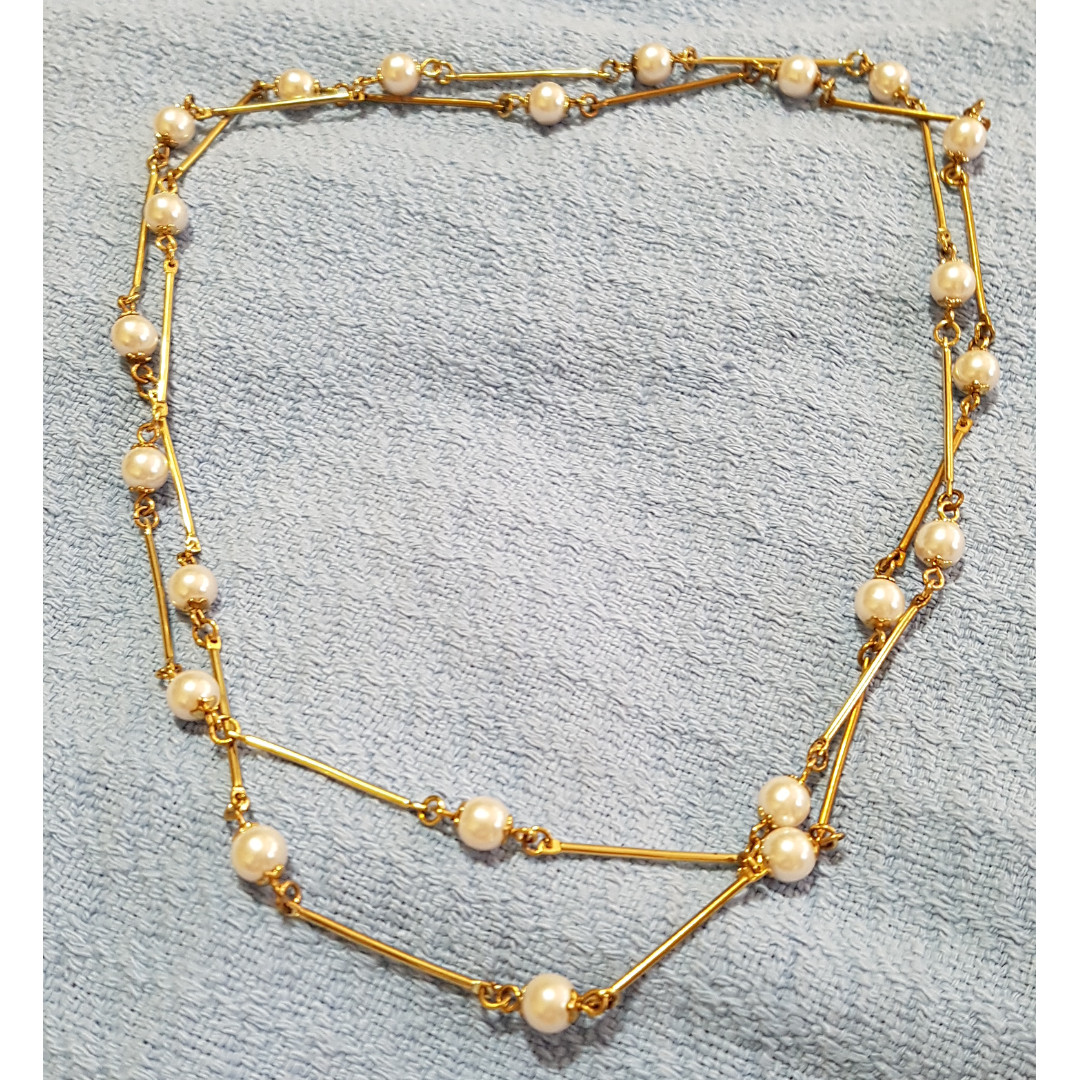 20 inches Long Pearl Necklace Gold Chain
