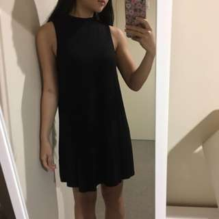 Ally Black Mock Neck Shift Dress