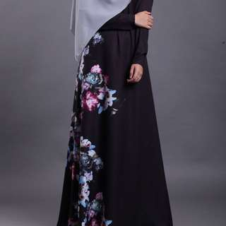 Black Floral Jubah