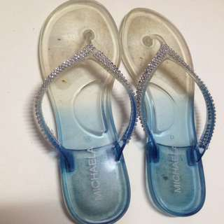 White And Blue Jelly Shoes