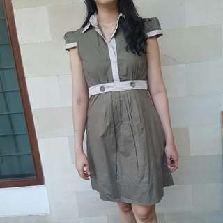Green Army Shirt Dress