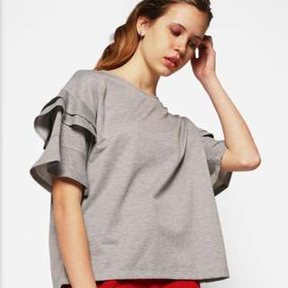 New Cotton Ink Grey Ruffle Tee Blouse CIB