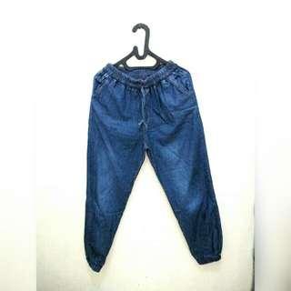 Local Brand Jogger Pants Jeans - Celana Jogger Biru