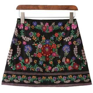 Embroidered Floral Skirt - Goodnight Macaroon (MED - FITS SMALL)