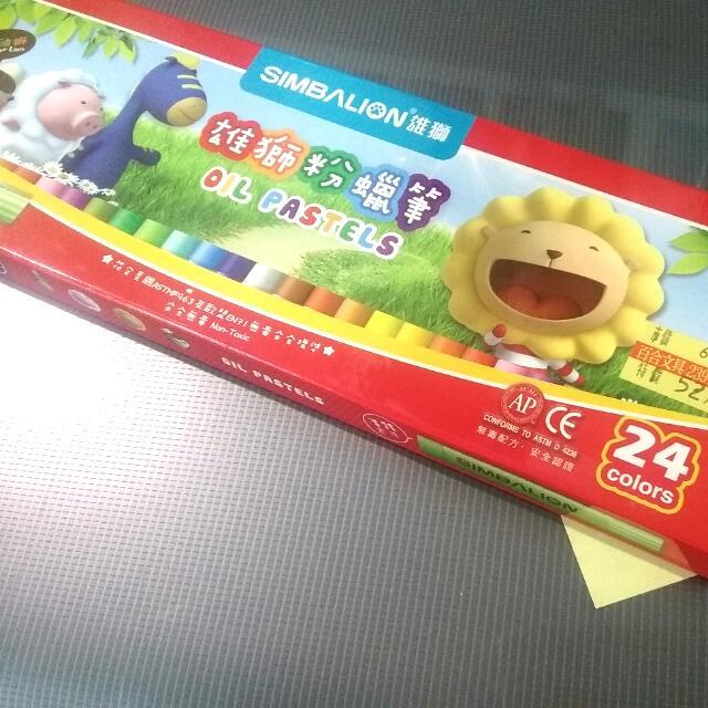 【拋售】【可易物】【24色雄獅粉臘筆】