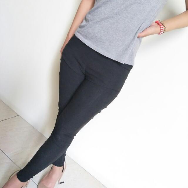 超顯瘦黑色長褲