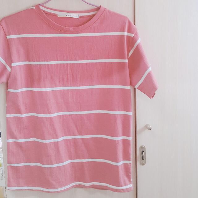 全新 正韓 粉色條紋短袖上衣