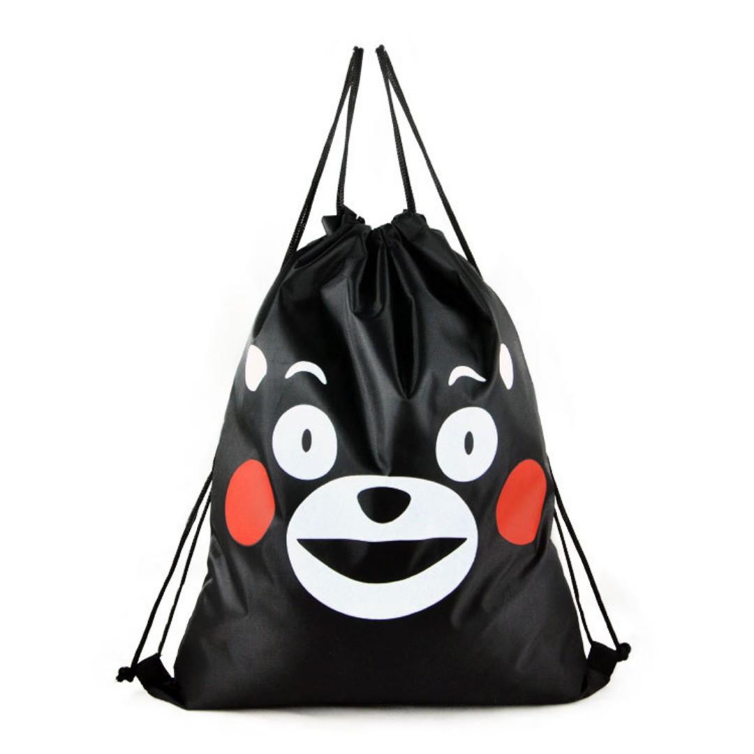 【轉角】熊本熊 熊本黑熊 牛津布雙肩抽繩背包 大容量可摺疊收納束口袋 束口包