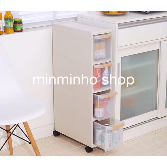 透明夾縫櫃 廚房衛生間窄面櫃 居家抽屜收納櫃  儲物小櫃 寶寶儲物櫃