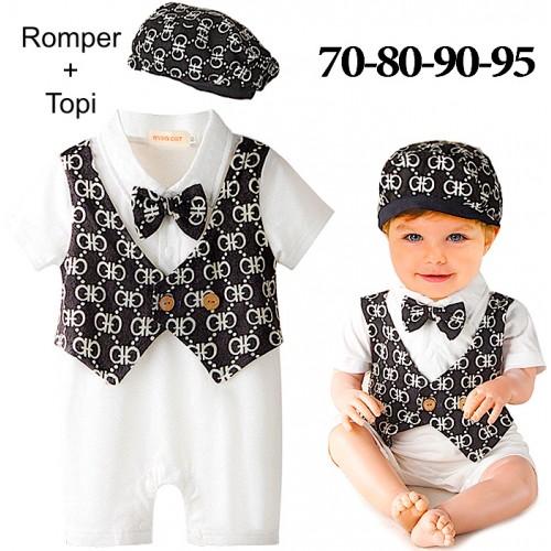 Baju baby laki-laki impor  romper set topi sc-15528