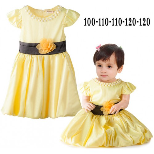 Baju baby perempuan impor  dress yellow mutiara 15525