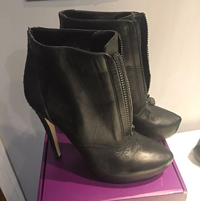 BCBG Black Leather Booties