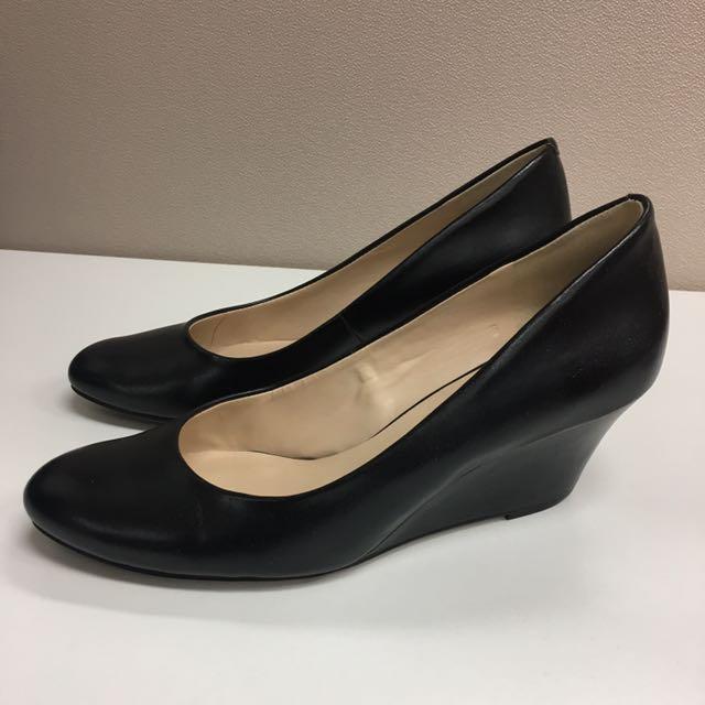 Black Nine West Leather Wedge Heels Size 6.5