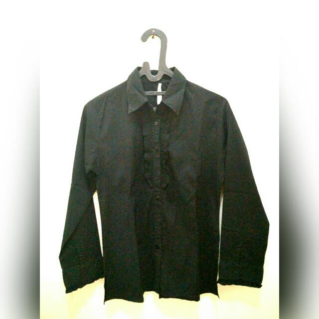 [REPRICE] Black Shirt - Woman Top - Atasan Wanita Hitam