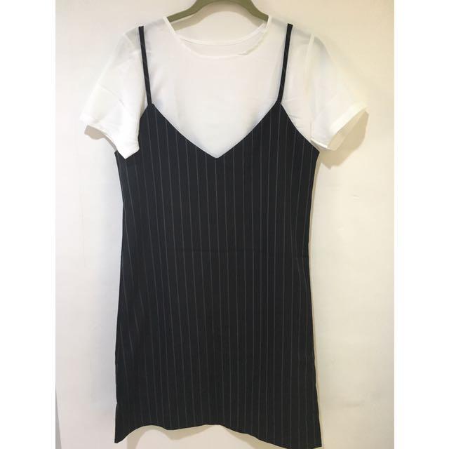 Black strip dress