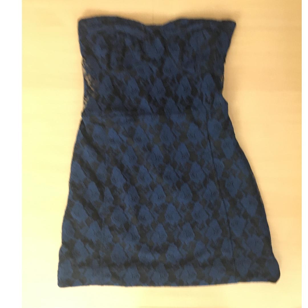 blue laced black dress