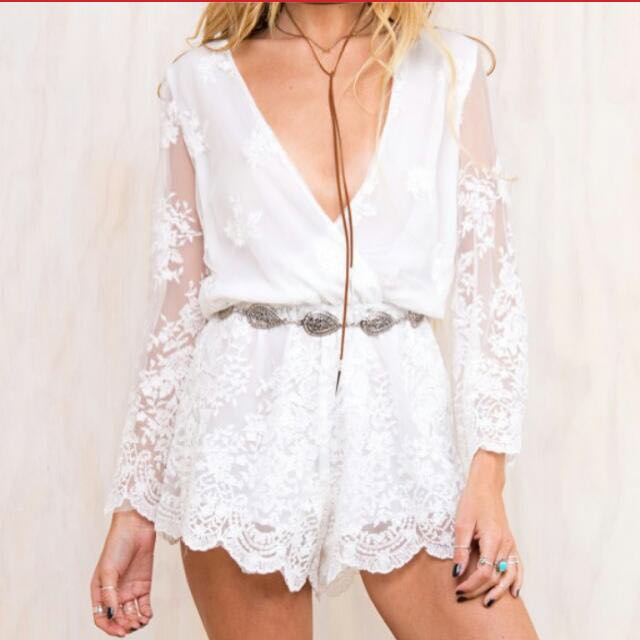 BNWT Princess Polly White Lust For Life Playsuit