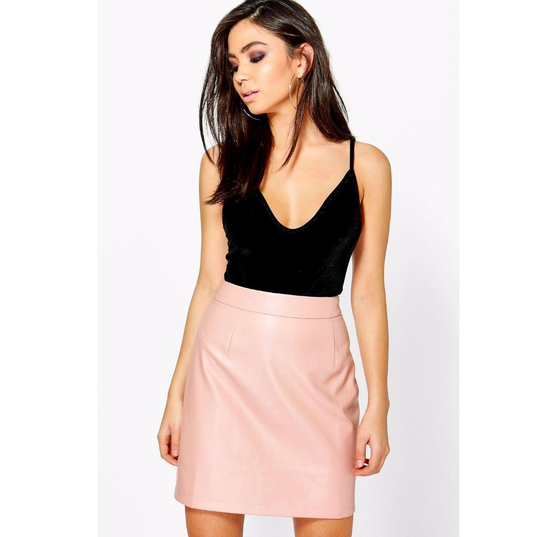 BOOHOO A Line Leather Mini Skirt