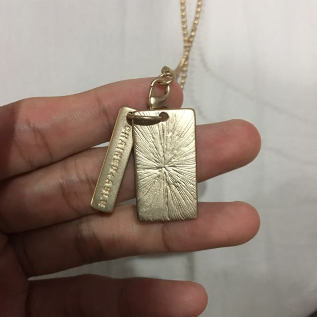 C&A Gold Dog Tag Chain Necklace