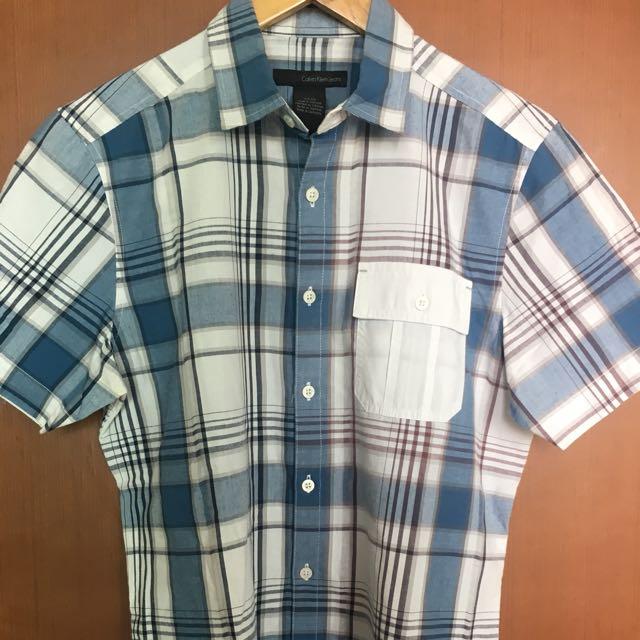 SALE!! CALVIN KLEIN Shirt Blue Checkered