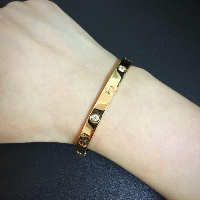 全新Cartier同款4顆鑽love玫瑰金手環