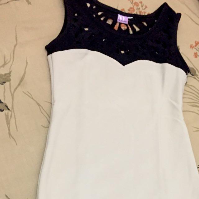 Casual Mini Dress/ Black-cream