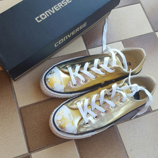 Converse Gold Sneakers Shoes Size 4 Mens Size 6 Women