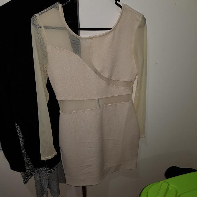 cream tight fit dress
