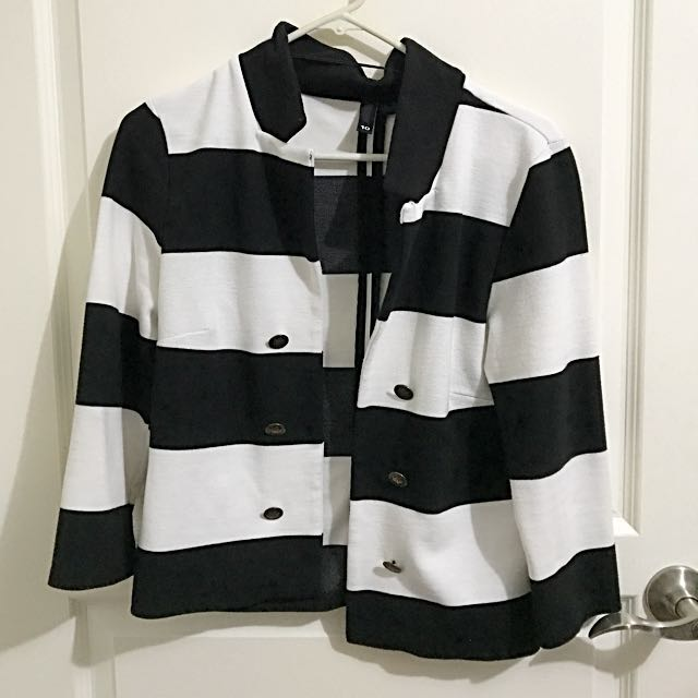 Divided By H&M Black and White Blazer Sz 10