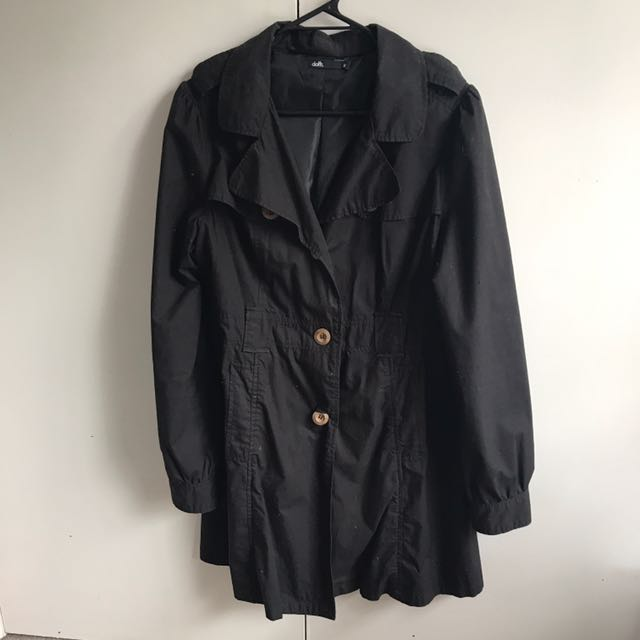 Dotti Size 12 Black Trench Coat