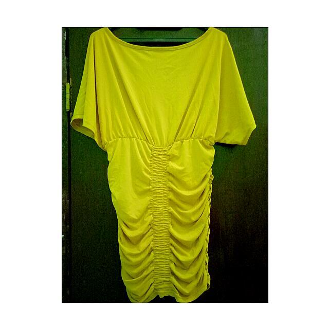 Dress Kuning Kerut