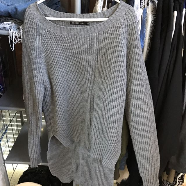 Drop Back Knitted Grey Sweater