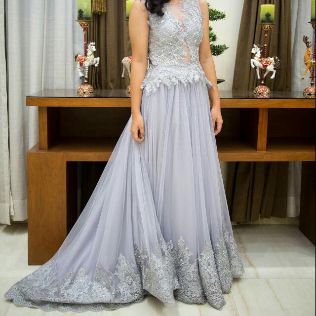 For RENT: Gray Gown (Read Description!!!), Women\'s Fashion, Clothes ...