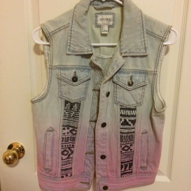Forever 21 Aztec Jean Vest