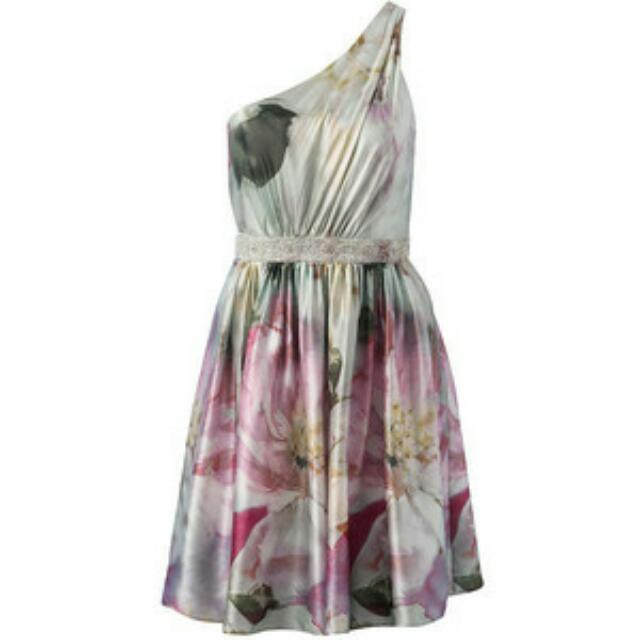 FOREVER NEW COCKTAIL DRESS Floral Silk Green Pink AU 6 XS