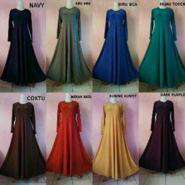 Gamis Polos Bahan Jersey Allsize