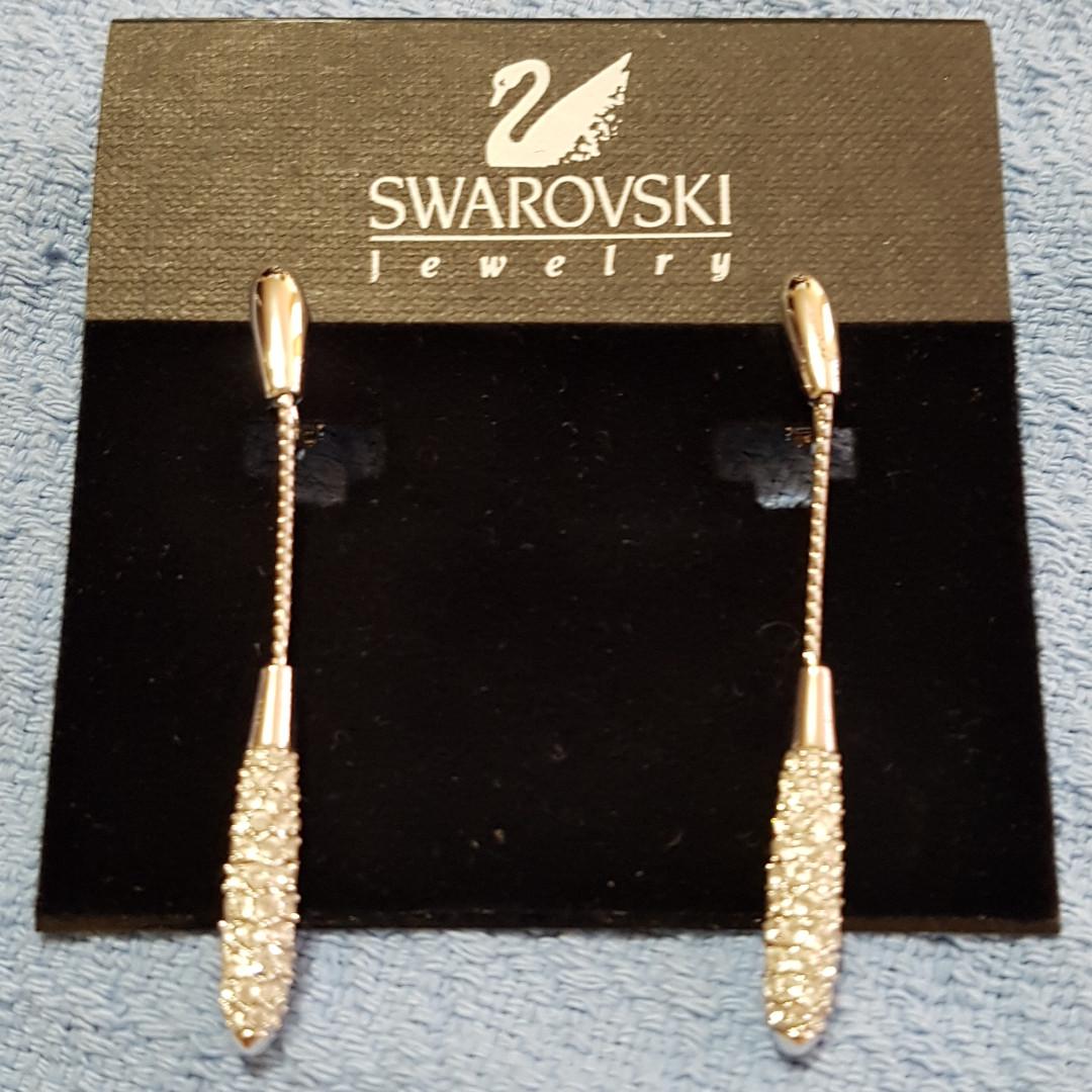 Genuine Swarovski Long Earrings Clip-On