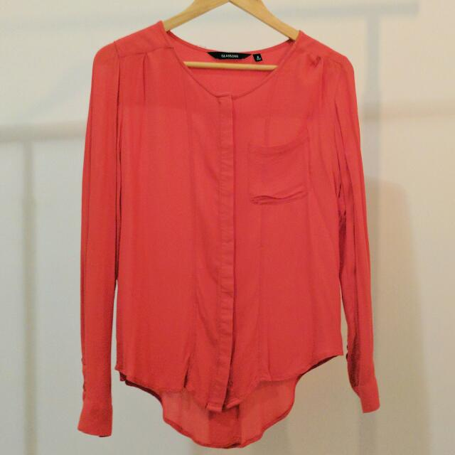 GLASSONS BLOUSE Red Orange Collarless Roll-Up Sleeves AU 6 Small