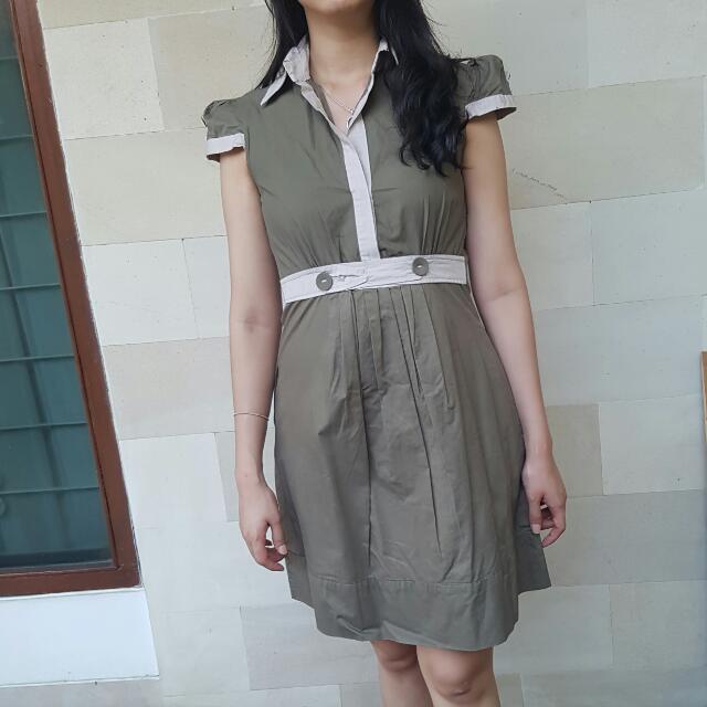 Green Army Shirt Dress
