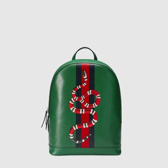 GUCCI WEB AND SNAKE LEATHER BACKPACK