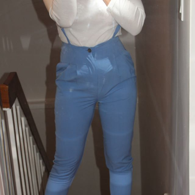 High Waisted Blue Suspender Trousers