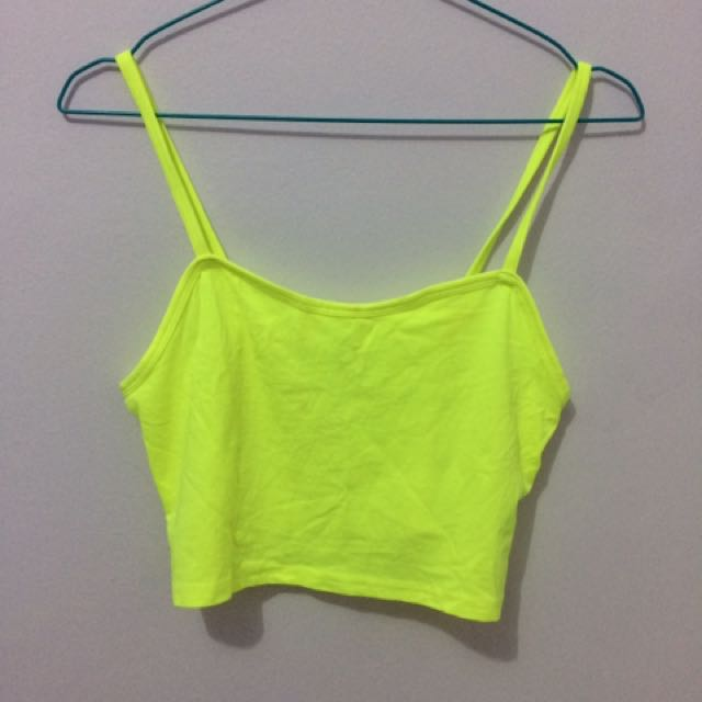 H&M crop top neon