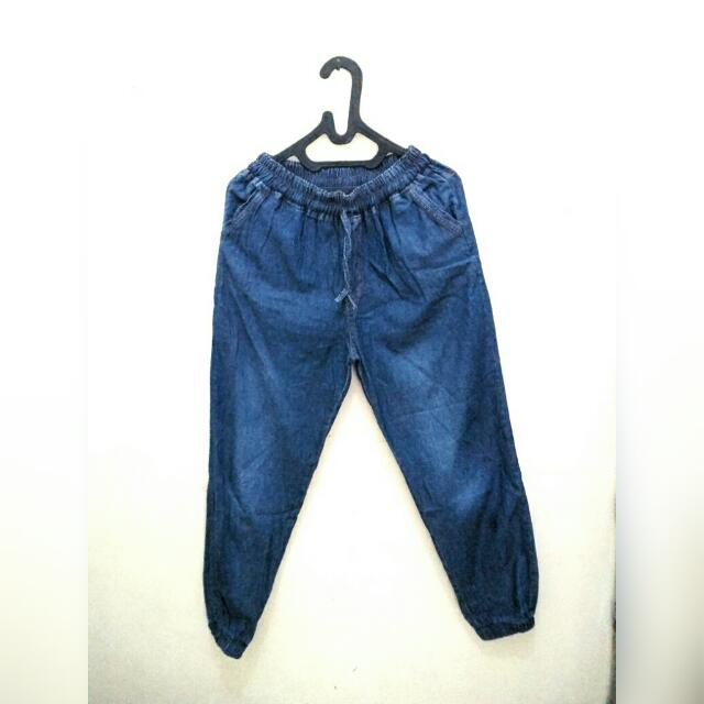 Jogger Pants Jeans - Celana Jogger Biru