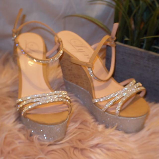 LYN diamond Cork Wedge Heels