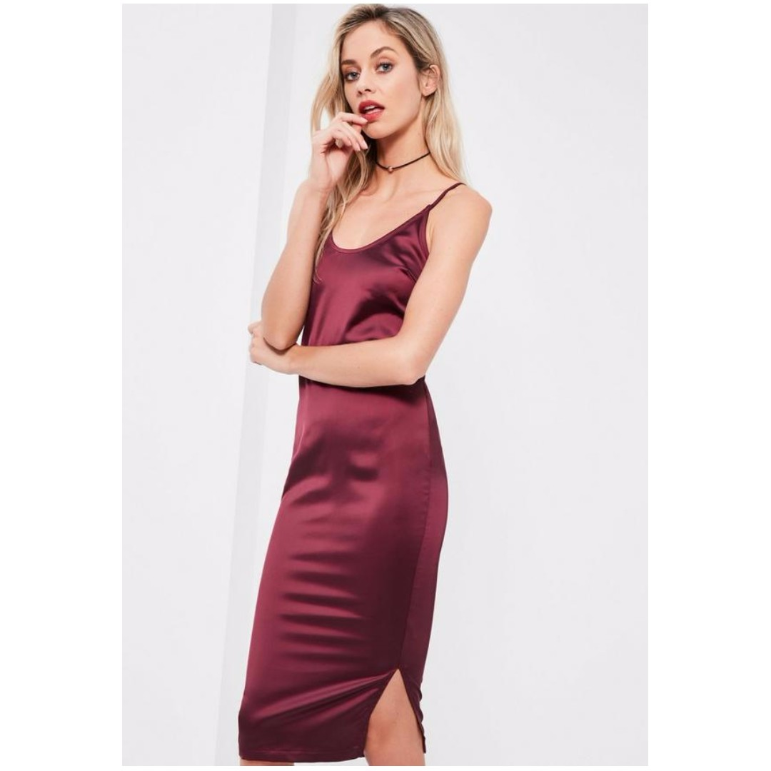 Missguided Burgundy Silky Plunge Midi Dress 0f2b0a6b0