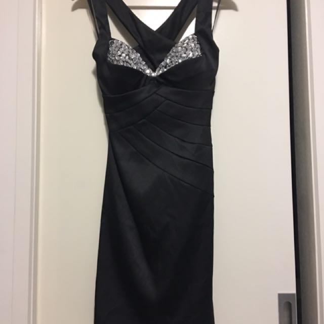 Mr k Size 10 Black And Diamanté Evening Dress