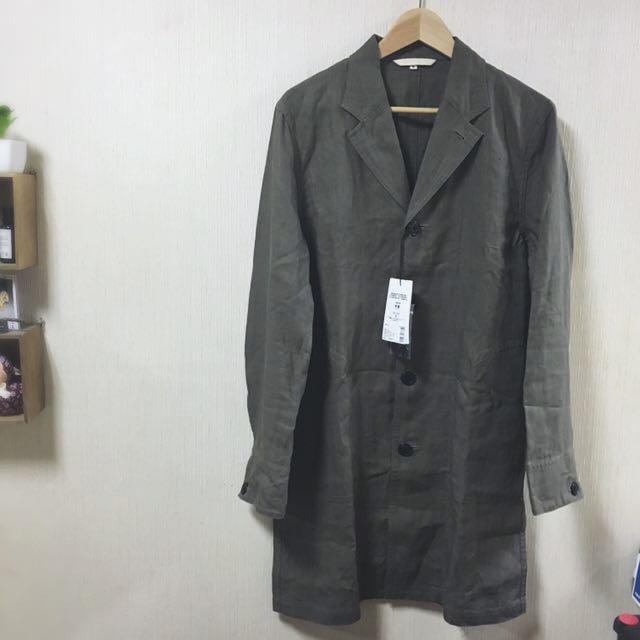 MUJI無印良品 LABO 男法國亞麻大衣灰色S號