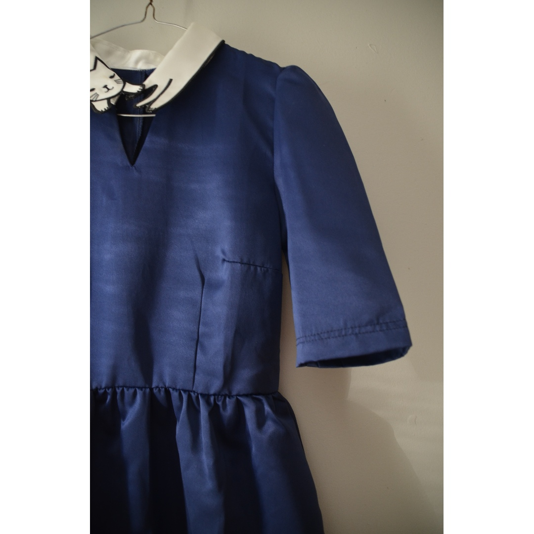 Navy Blue Cat Dress short sleeves satin finish mod cloth miss patina