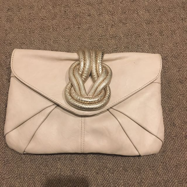 Nude Gold Twist Clutch